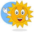 Happy summer sun character thumbs up Stock Image