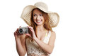 Happy summer woman making photos Royalty Free Stock Images