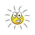 Happy sun cartoon vector illustration of smiling drawn with doodle style Stock Photography