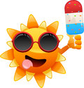 Happy sun character with ice cream vector illustration of separate layers for easy editing Royalty Free Stock Images
