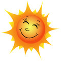 Happy sun illustration of a cartoon on a white background Stock Photos