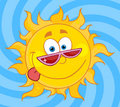 Happy sun mascot cartoon character with shades Royalty Free Stock Photo