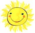 Happy sun on white childlike painting Stock Photo