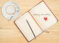 Happy Sunday on notebook Royalty Free Stock Photo