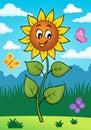 Happy sunflower theme image 2 Royalty Free Stock Photo