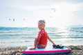 Happy Surfing boy. Royalty Free Stock Photo