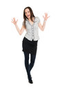 Happy surprised brunette spreading her hands full body portrait of isolated on white background Stock Photo