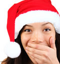 Happy surprised christmas woman Stock Photo