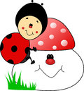 Happy sweet baby ladybug cartoon a lovely with her mushroom Royalty Free Stock Photography