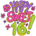 Happy sweet sixteen an image of a message Royalty Free Stock Photography