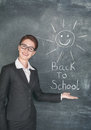 Happy teacher and smiling sun on the chalkboard Royalty Free Stock Photo