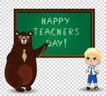 Happy teachers day clip art with cartoon bear teacher and student boy isolated Royalty Free Stock Photo