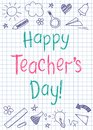 Happy Teachers Day greeting card on squared copybook sheet in sketchy style