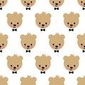 Happy teddy bear seamless pattern. Cute vector background with boy teddy bear.