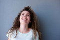 Happy teen girl smiling and looking up Royalty Free Stock Photo