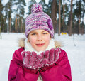 Happy teen girl with snow Royalty Free Stock Image