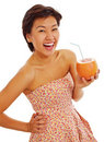 Happy teen with grapefruit Stock Photo