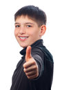 Happy teenage boy showing thumbs up Royalty Free Stock Photos