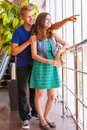 Happy teenage friends looks city panorame couple Royalty Free Stock Photos