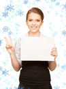 Happy teenage girl with blank board picture of Royalty Free Stock Photography