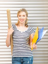 Happy teenage girl with books and folders picture of Royalty Free Stock Photo