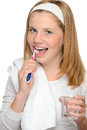 Happy teenage girl brushing teeth toothbrush denta dental hygiene care Stock Photography