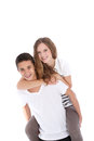 Happy teenage girl getting a piggyback Royalty Free Stock Photos