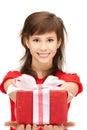 Happy teenage girl with gift box