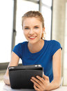 Happy teenage girl with tablet pc computer picture of Stock Images