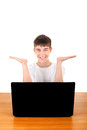 Happy Teenager behind Laptop Stock Image