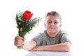 Happy teenager with bouquet of flowers on a white background Royalty Free Stock Images