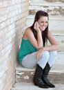 Happy Teenager on Cell Phone Royalty Free Stock Photo