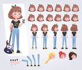 Happy teenager girl character with guitar with various views, f