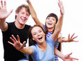Happy teenagers with raised heads Royalty Free Stock Image