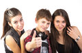 Happy teenagers shows thumbs up Stock Images