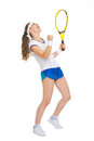 Happy tennis player rejoicing in success Royalty Free Stock Photo
