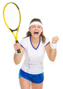 Happy tennis player rejoicing in success Stock Image