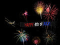 Happy 4th of July banner and plane flying with fireworks display for independence day Royalty Free Stock Photo