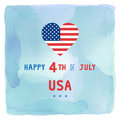 Happy 4th of July on blue and green watercolor background