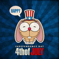 Happy th of july card with cartoon rabbit sticker vector illustration Royalty Free Stock Photography