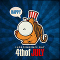 Happy th of july card with cartoon tiger sticker vector illustration Stock Image