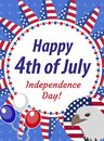 Happy 4th july greeting card, poster. American Independence Day template for your design. Vector illustration Royalty Free Stock Photo