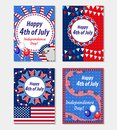 Happy 4th july greeting card, poster set. American Independence Day template collection for your design. Vector Royalty Free Stock Photo
