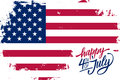 Happy 4th of July Independence Day greeting card with brush stroke background in american national flag colors and hand lettering. Royalty Free Stock Photo