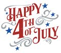 Happy 4th of July Independence Day Text Banner Royalty Free Stock Photo