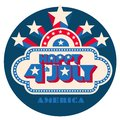 Happy 4th of July pop art logo with star burst Royalty Free Stock Photo
