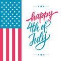 Happy 4th of July USA Independence Day greeting card with american national flag and hand lettering text design. Royalty Free Stock Photo