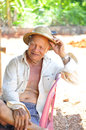 Happy thai farmer the portrait to on smile Stock Images