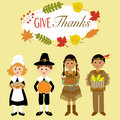 Happy Thanks giving with pilgrim  and red indian costume Royalty Free Stock Photo