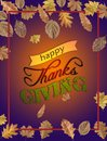 Happy Thanks Giving with several leaves and bordo frame